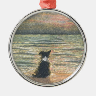 A Border Collie dog says hello to the morning Christmas Ornament