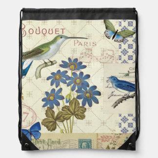 A Bouquet of Blue Flowers, Birds and Butterflies Drawstring Bag