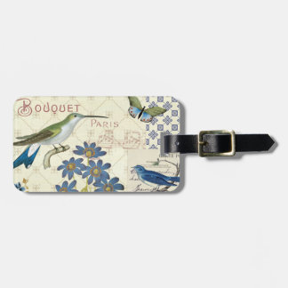 A Bouquet of Blue Flowers, Birds and Butterflies Luggage Tag