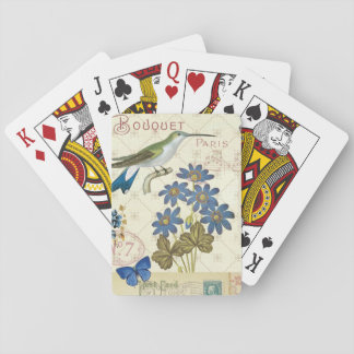 A Bouquet of Blue Flowers, Birds and Butterflies Playing Cards