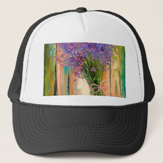 A bouquet of lavender trucker hat