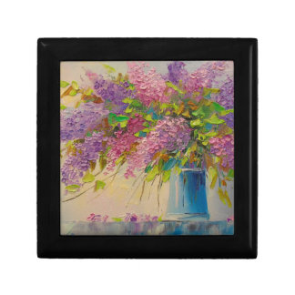 A bouquet of lilacs small square gift box