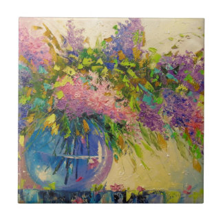 A bouquet of lilacs small square tile