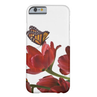 a bouquet of red tulips is visited by a monarch barely there iPhone 6 case