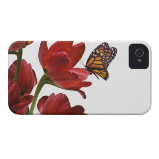 a bouquet of red tulips is visited by a monarch Case-Mate iPhone 4 cases