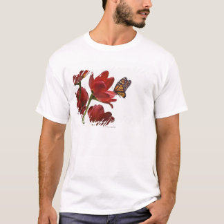 a bouquet of red tulips is visited by a monarch T-Shirt