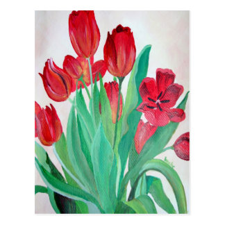 A Bouquet of Red Tulips Postcard