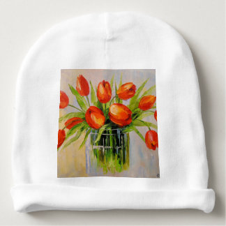 A bouquet of tulips baby beanie