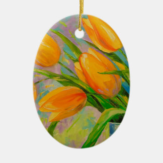 A bouquet of tulips ceramic oval decoration