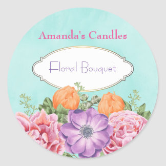 A Bouquet of Watercolor Flowers Candle Scent Round Sticker