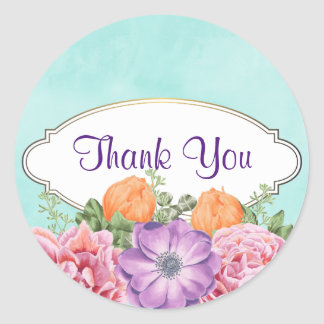 A Bouquet of Watercolor Flowers  Thank You Round Sticker
