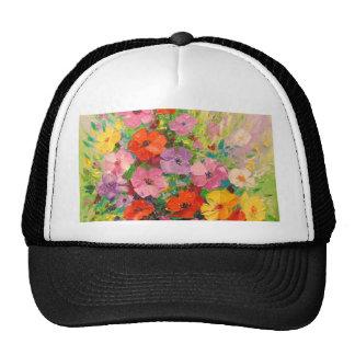 A bouquet of wild flowers cap