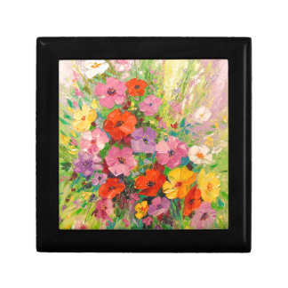 A bouquet of wild flowers small square gift box