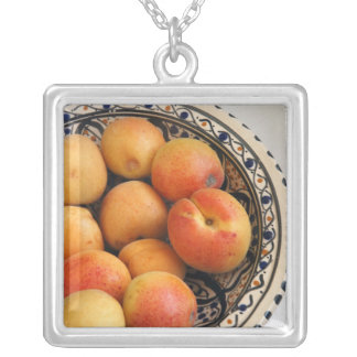 A bowl of Mediterranean Apricots 2 Silver Plated Necklace