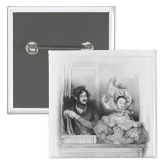 A box at the Theatre Italien, engraved by Frey 15 Cm Square Badge