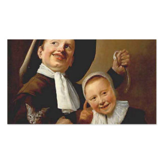 A Boy a Girl with a Cat an Eel by Judith Leyster Business Card