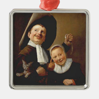 A Boy a Girl with a Cat an Eel by Judith Leyster Christmas Ornaments