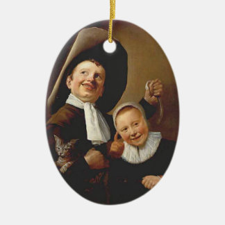 A Boy a Girl with a Cat an Eel by Judith Leyster Ornament