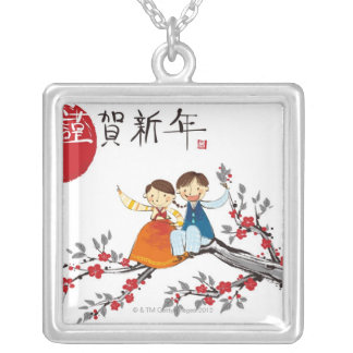 A Boy and a Girl Silver Plated Necklace