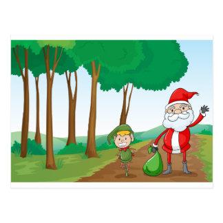 a boy and a santa claus postcard