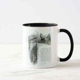 A boy and girl being wound up a mine shaft mug
