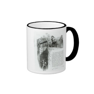 A boy and girl being wound up a mine shaft coffee mug