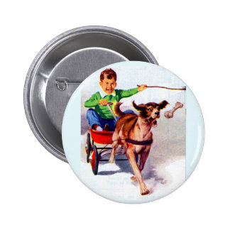 A boy and his dog cart 6 cm round badge