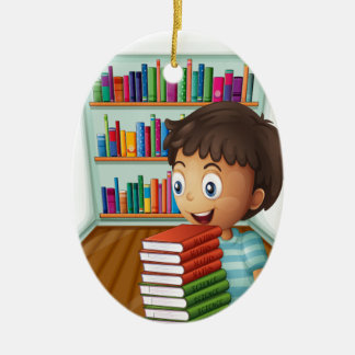 A boy carrying a pile of books ceramic oval decoration