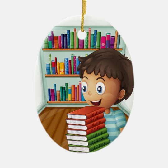 A boy carrying a pile of books christmas