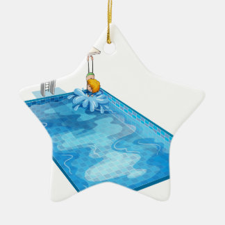 a boy in a swimming pool christmas ornament