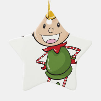 a boy in green joker dress ceramic star decoration