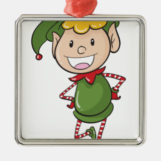 a boy in green joker dress Silver-Colored square decoration