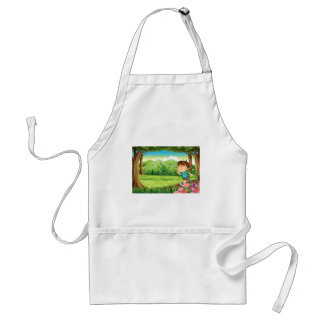 A boy jogging in the middle of the forest standard apron