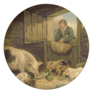 A Boy Looking into a Pig Sty, 1794 (oil on canvas) Party Plate