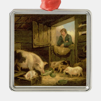 A Boy Looking into a Pig Sty, 1794 (oil on canvas) Silver-Colored Square Decoration