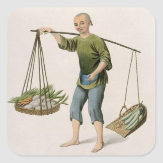 A Boy with Vegetables, plate 54 from 'The Costumes Square Sticker