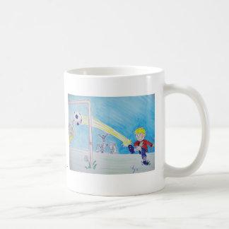 A boy's first goal playing football mugs
