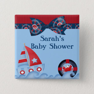 A Boys Sea Life Baby Shower 15 Cm Square Badge