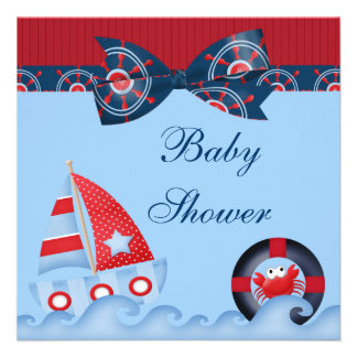 A Boys Sea Life Baby Shower Personalized Invitations