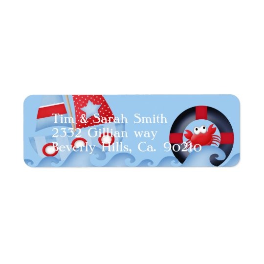 A Boys Sea Life Baby Shower Return Address Label