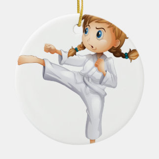 A brave girl doing karate round ceramic decoration