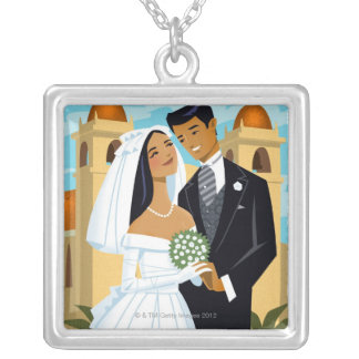 A Bride and Groom Silver Plated Necklace
