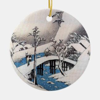 A Bridge in a Snowy Landscape, Ando Hiroshige Christmas Ornament