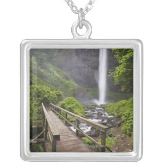 A Bridge Over Columbia River And Latourell Falls Silver Plated Necklace