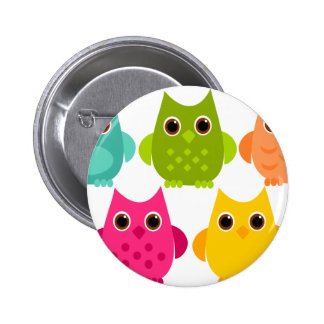 A Bright Bunch of Owls 6 Cm Round Badge