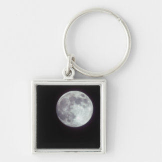 A bright full moon in a black night sky. key ring
