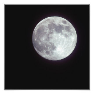 A bright full moon in a black night sky. photo print