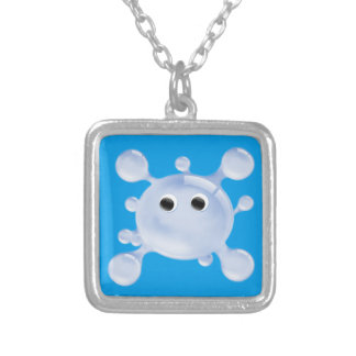 A Bright, Fun Blue Water Splat Square Pendant Necklace