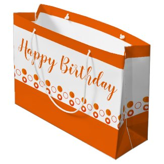 A Bright Orange Polka Dot Designer Birthday Large Gift Bag