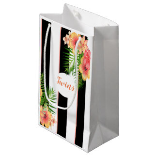 A bright tropical flower baby design small gift bag